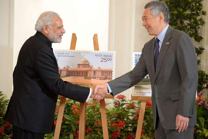 Indian Prime Minister Narendra Modi (left) and Singapore Prime Minister Lee Hsien Loong during Mr Modi's visit to Singapore in 2015.