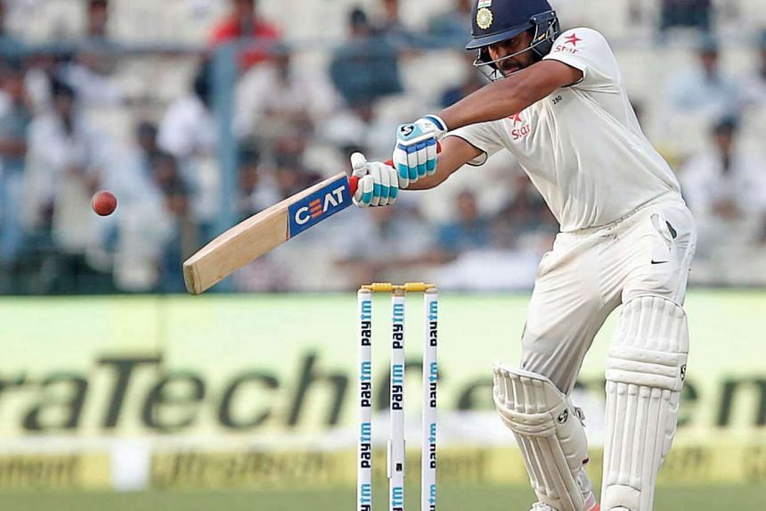 India's Rohit Sharma playing a shot during the third day of the second Test cricket match between India and New Zealand at The Eden Gardens Cricket Stadium in Kolkata on Oct 2.