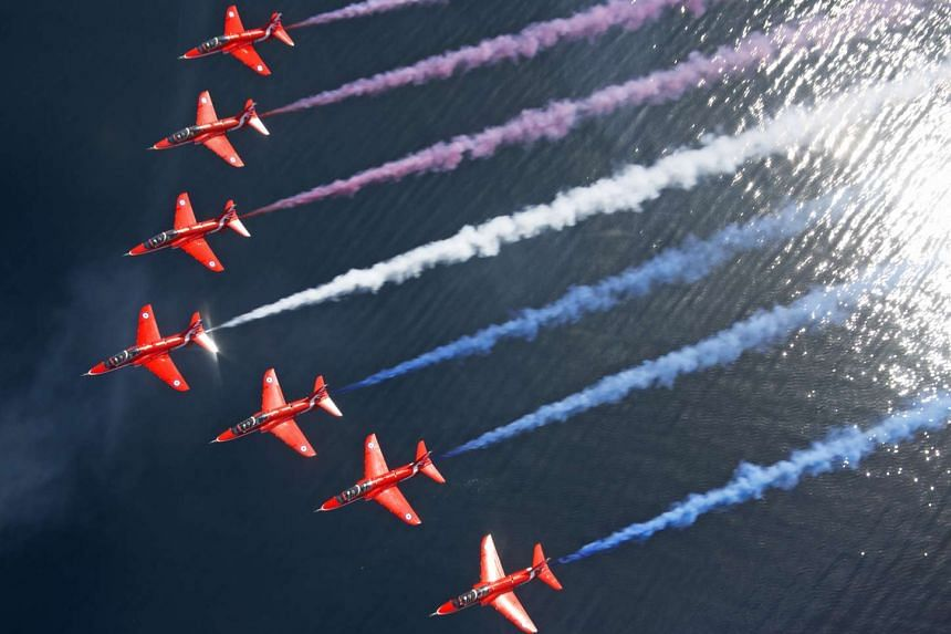 Britain's Red Arrows will perform in Singapore at noon on Oct 13 in a 30-minute fly-past around the Marina Bay area.