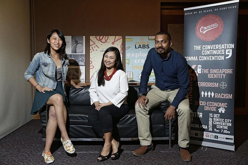 Comma Convention co-organisers (from left) Joanelle Toh, 20; Shahrany Hassan, 41; and Shahrman Nayan, 28. Their aim is to get 500 young people talking frankly about thorny issues like race and religion, terrorism, xenophobia and poverty.