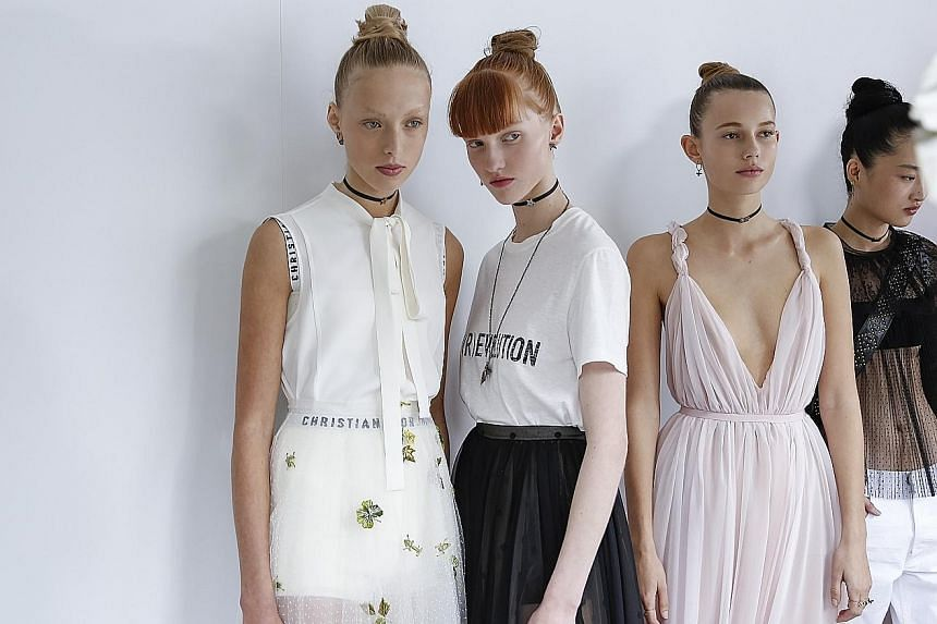 Outfits (above) from the Christian Dior Spring/Summer 2017 collection.