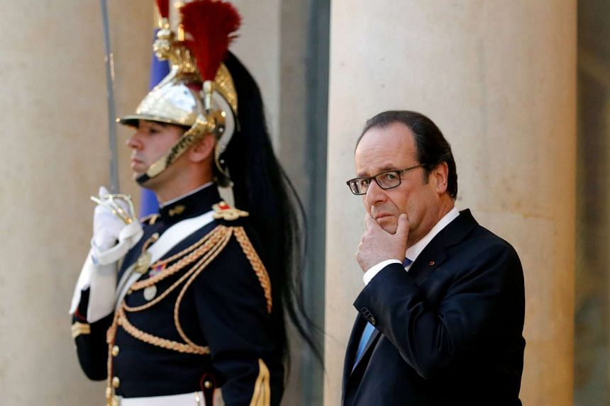 French President Francois Hollande at the Elysee palace in Paris. Polls show he would not win the endorsement of his own Socialist Party's supporters.