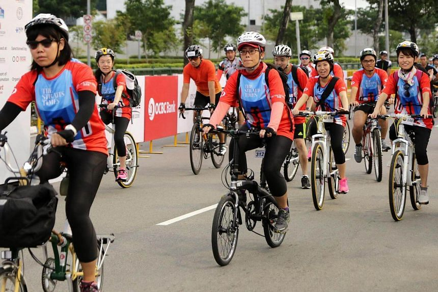 Flag offs for the Sportive ride and Straits Times ride.