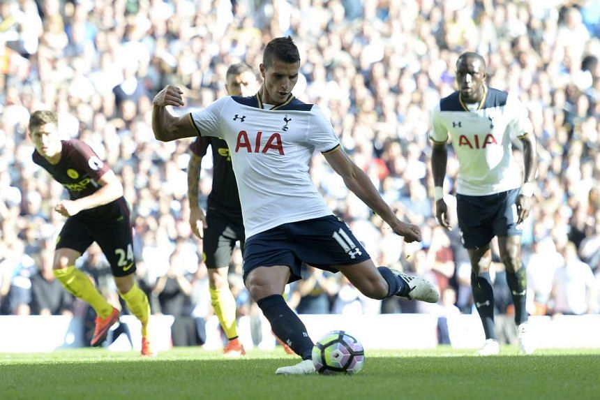 Tottenham's Erik Lamela takes a penalty during the English Premier League match against Manchester City on Sunday (October 2, 2016).