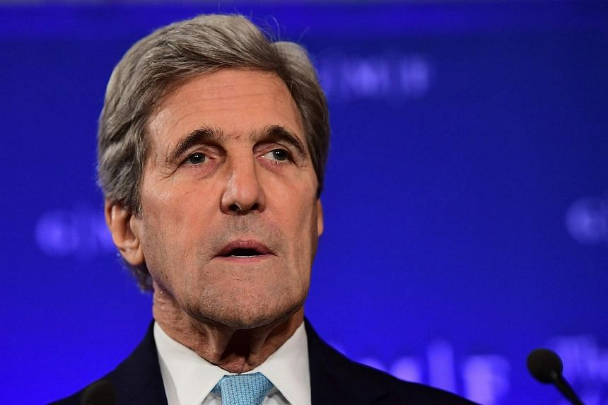 US State Secretary John Kerry gives a speech in Brussels on Oct 4, 2016.