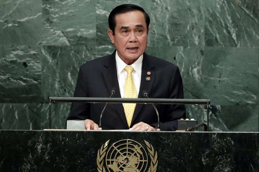 Prime Minister of Thailand General Prayut Chan-o-cha addresses the General Debate of the 71st Session of the United Nations General Assembly on Sept 21, 2016.