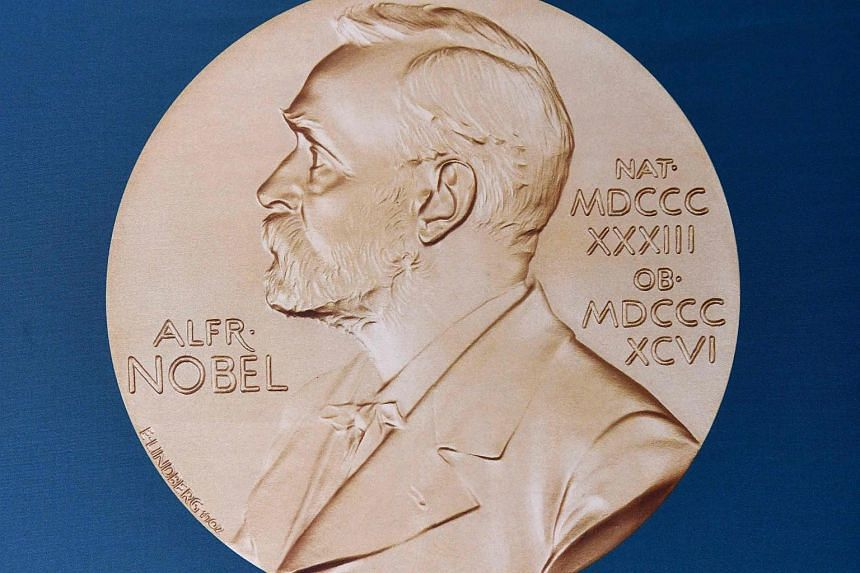A portrait of Swedish inventor and scholar Alfred Nobel at the Nobel Forum in Stockholm on Oct 3, 2016.