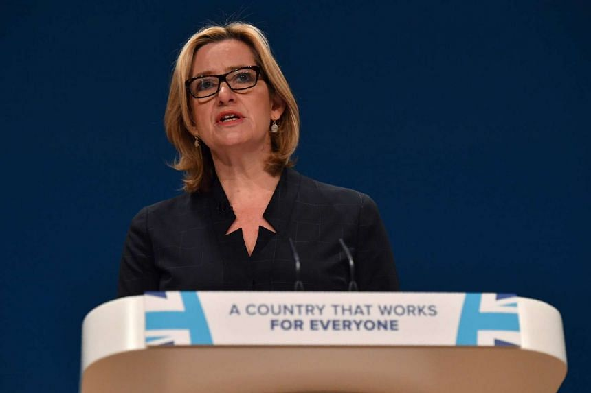 British Home Secretary Amber Rudd delivers her keynote address at the annual Conservative Party Conference in Birmingham, Britain, on Oct 4, 2016.