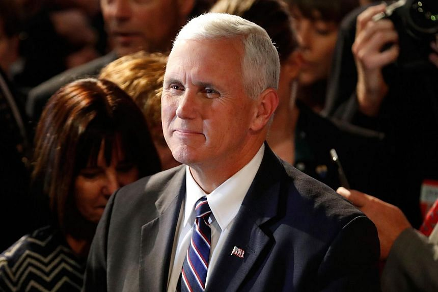 Republican vice-presidential nominee Mike Pence in the debate hall at Hofstra University on Sept 26, 2016.