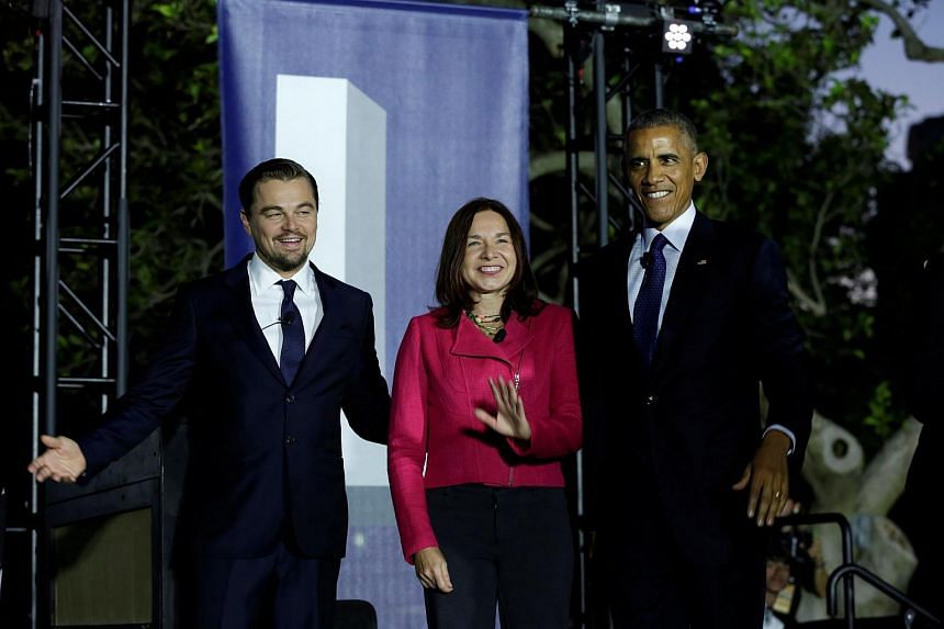 Actor Leonardo DiCaprio, climate scientist Dr. Katharine Hayhoe and U.S. President Barack Obama at the White House on Oct 3, 2016.
