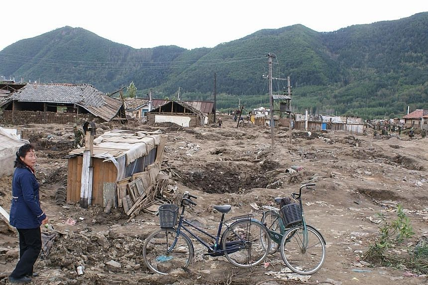 Homes destroyed by flooding of the Tumen River in late August in North Korea.