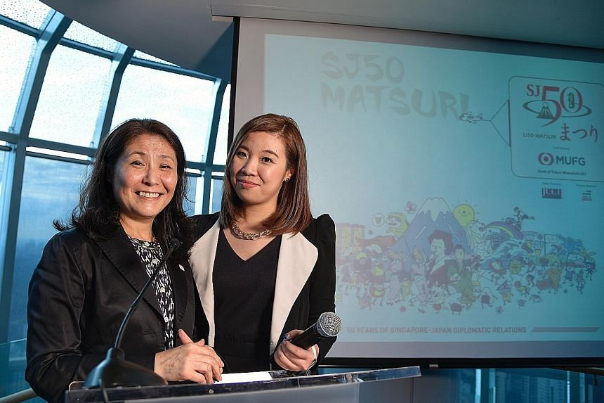 Ms Misako Ito (left), director of the Japan Creative Centre, and Ms Priscilla Tan, spokesman for the SJ50 Matsuri task force, at the pre-event press conference for SJ50 Matsuri, a special Japan-themed festival. Members of the Awa Odori folk group of