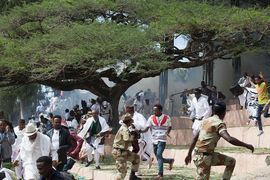 A chaotic scene after a thanksgiving ceremony in Ethiopia degenerated into violence on Sunday. Protesters threw stones and bottles. Security forces responded with baton charges and tear gas. There were some reports of gunfire.