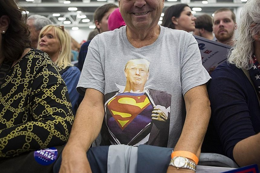 A Trump rally in Pennsylvania on Saturday. Recent polls show 53 per cent of Americans said Mrs Clinton won the first presidential debate, compared to 18 per cent for him.