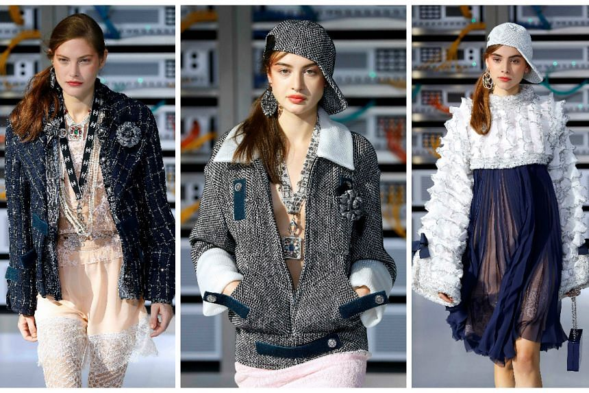Models present creations for Chanel during the 2017 Spring/Summer ready-to-wear collection fashion show on Oct 4, 2016 in Paris.