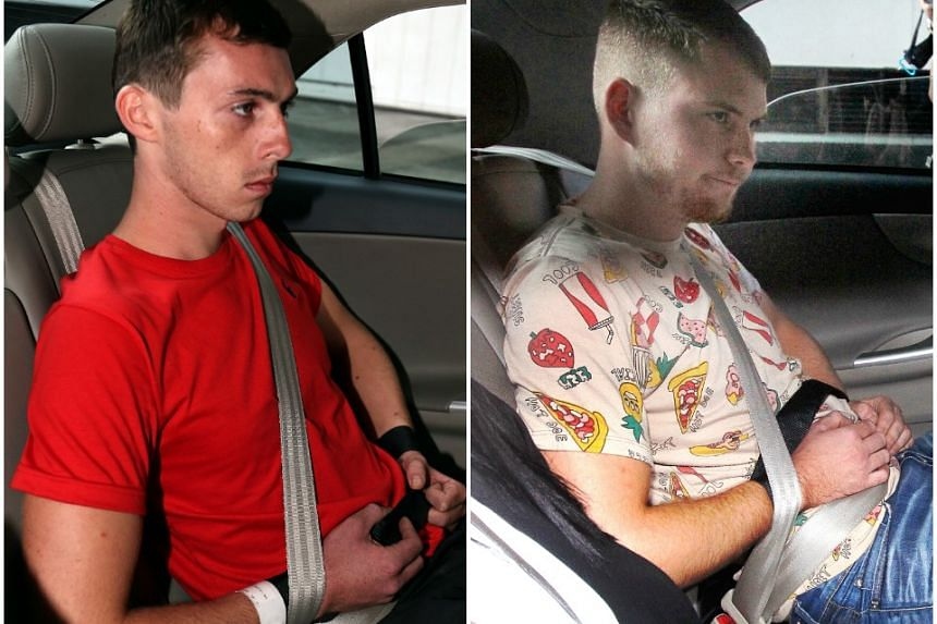 A picture showing the trespass of German vandals Andreas Von Knorre (left) and Elton Hinz was posted on SMRT's website on Oct 4, 2016.