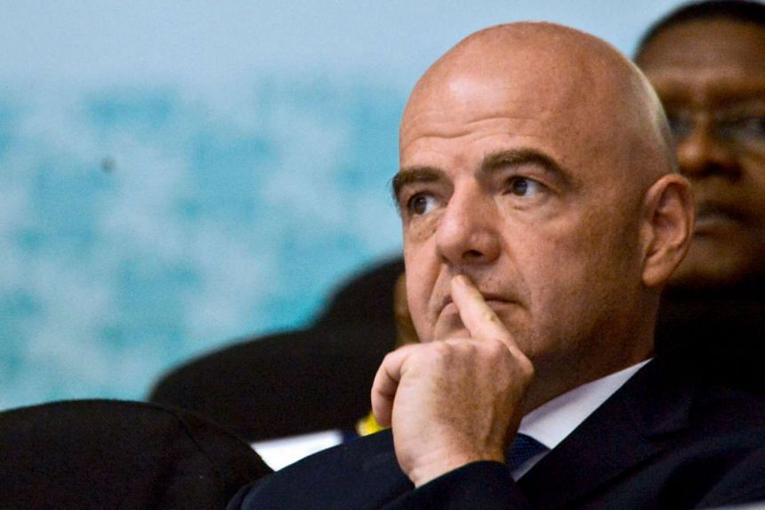Fifa President Gianni Infantino gestures during the Colombia 2016 Fifa Futsal World Cup