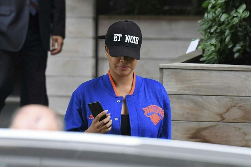 LaLa Anthony leaves friend Kim Kardashian and Kanye West's town house in New York City on Oct 3, 2016.