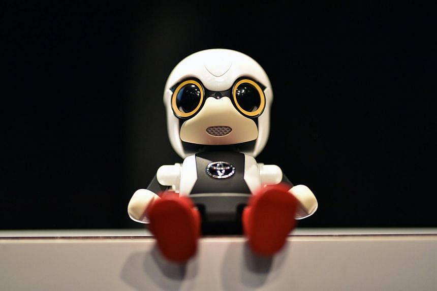 A Kirobo Mini robot on display during a press conference in Tokyo, Japan.