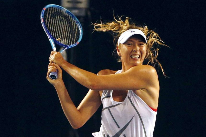 Russia's Maria Sharapova hits a shot during a practice session at Melbourne Park, Australia.