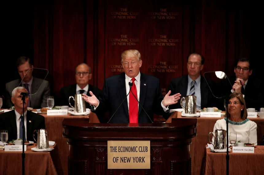 Republican presidential nominee Donald Trump speaks at the Economic Club of New York luncheon in Manhattan.