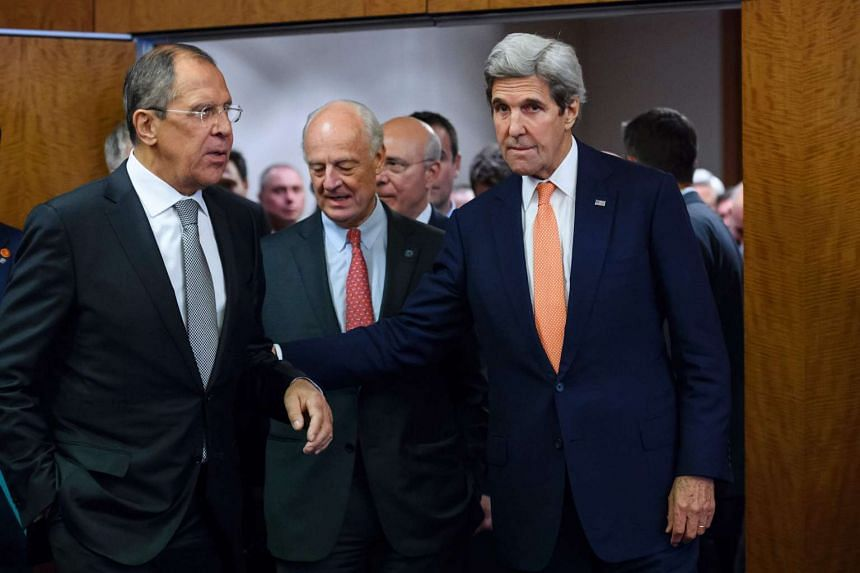 Russian Foreign Minister Sergei Lavrov (left), United Nations Special Envoy for Syria Staffan de Mistura and US Secretary of State John Kerry when the countries agreed to implement a ceasefire in the Syrian civil war and lay the foundation of a peace