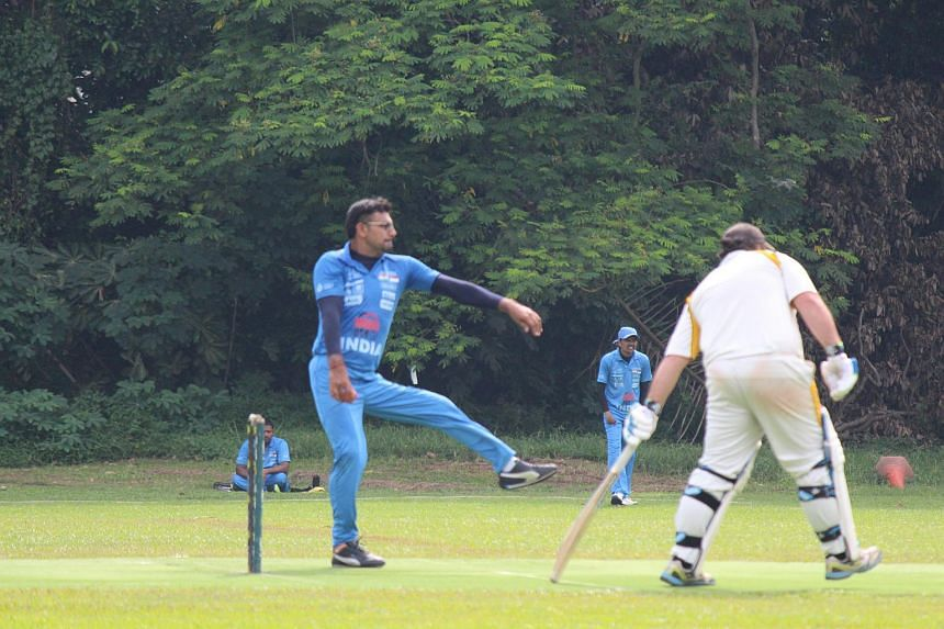 Action from the match between the Singapore Cricket Club and the Indian cricket team for the physically challenged at Dempsey on Oct 5, 2016.