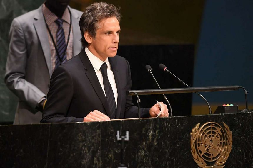 Actor Ben Stiller speaks to the #withrefugees group prior to handing over a petition to UN Secretary-General on Sept 16, 2016 at the United Nations in New York.
