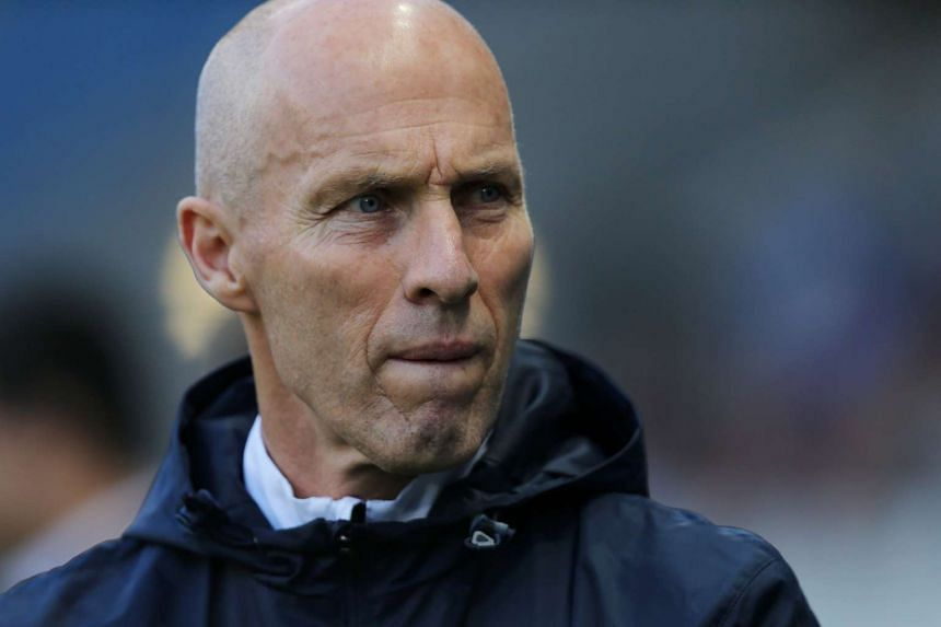 Bob Bradley as he looks on during the French L2 football match between Le Havre (Havre AC) and Bourg-en-Bresse, at the Oceane stadium, in Le Havre, France.