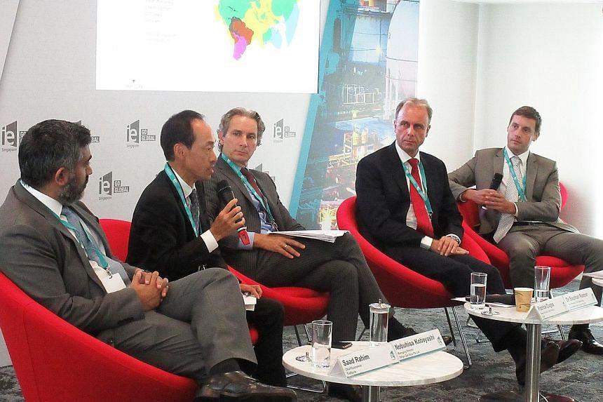 From far left: Trafigura chief economist Saad Rahim; Tokyo Gas Asia managing director Nobuhisa Kobayashi; Total head of global LNG trading Patrick Dugas; ExxonMobil vice-president of LNG marketing Stephan Roeper; and moderator Chris Graham, Wood Mack