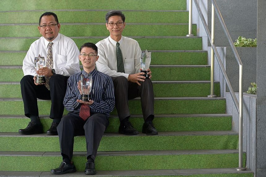 Award recipients included (from far left) Mr Mohamed Shahril, St Andrews Junior College maths teacher William Lee and senior manager of manufacturing services at Molex Singapore Sebastian Choo.