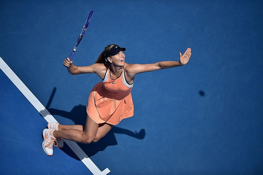 Russia's Maria Sharapova serving during her quarter-final defeat by Serena Williams at this year's Australian Open. She later admitted taking meldonium during the season's opening Grand Slam in Melbourne. Sharapova was initially handed a two-year dop