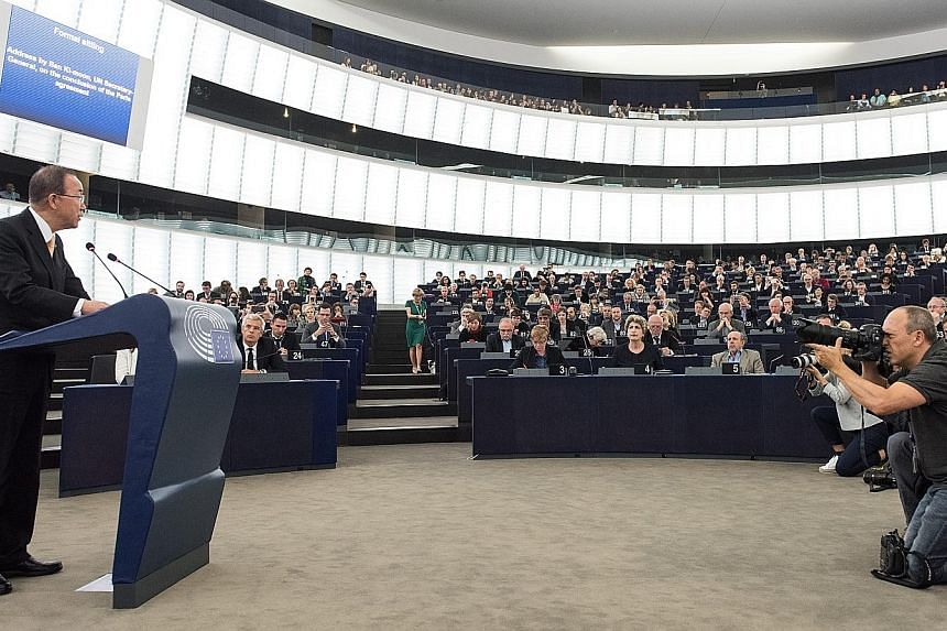 Mr Ban giving a speech prior to a voting session on the Paris climate deal at the European Parliament in Strasbourg, France, yesterday.EU approval, expected to be signed off by the bloc's 28 nations this week, will push the climate deal - the most sw