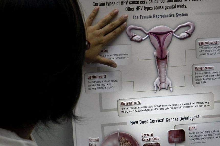 A woman reading a poster on cervical cancer.