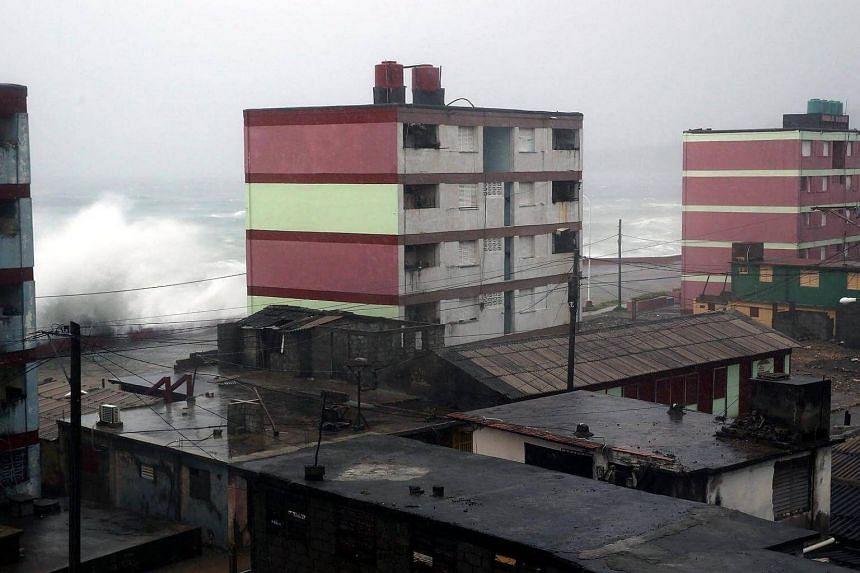 Waves crashing against the Baracoa shore, Cuba, on Oct 4 2016.