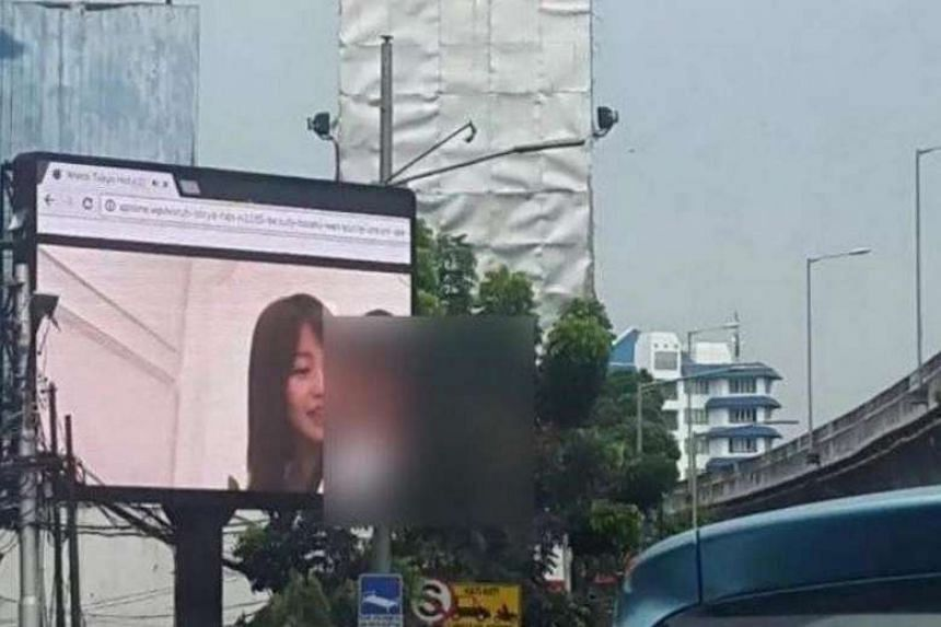 A large outdoor television screen in South Jakarta displayed an adult video on Friday (Sept 30).