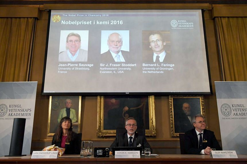 The Nobel Prize for Chemistry 2016 was awarded to (on screen, from left) Dr Jean-Pierre Sauvage, Dr J Fraser Stoddart and Dr Bernard L Feringa.