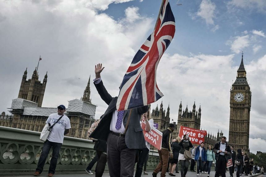 Demonstrators supporting a British departure from the European Union, in London on June 15, 2016.