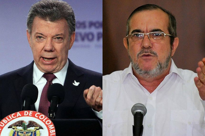 "Colombian President Juan Manuel Santos (left) and FARC chief Timoleon ""Timochenko"" Jimenez are tipped as favourites to win the prestigious award."