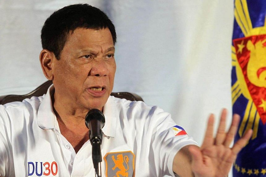 Philippine President Rodrigo Duterte speaking during a news conference in Davao city, southern Philippines on Aug 21, 2016.