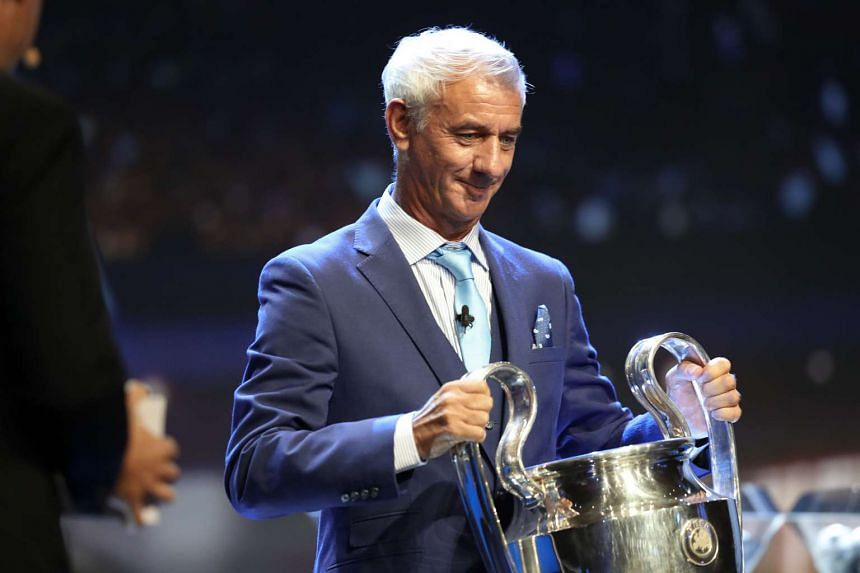 Liverpool legend Ian Rush holds the Champions League trophy at the start of the Champions League group stage draw ceremony on Aug 25. He will be among the former stars to come to Singapore from Oct 31 to Nov 6.