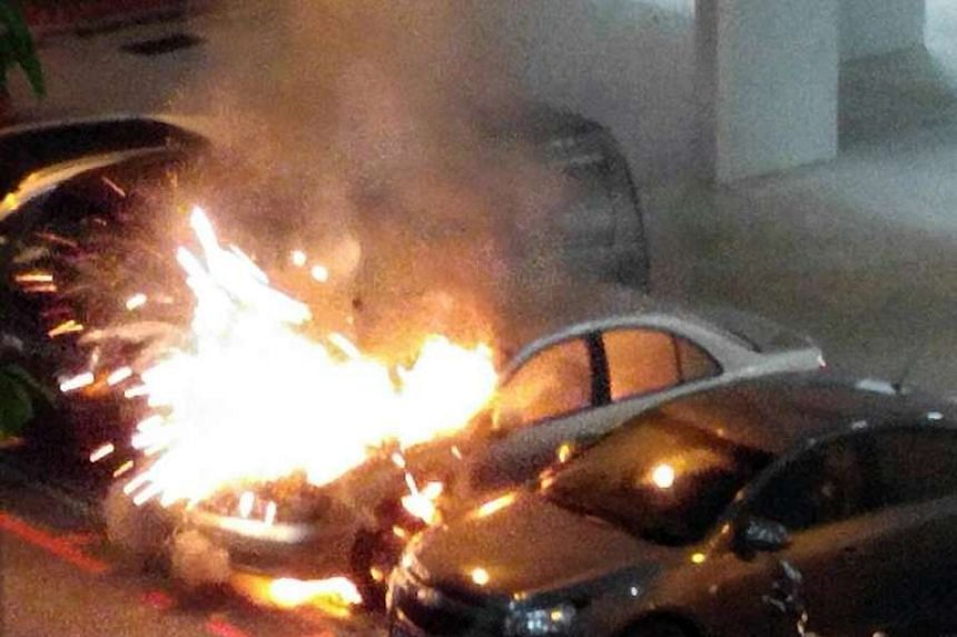 A car caught fire at a carpark at Tampines Street 44 on Oct 2, 2016.