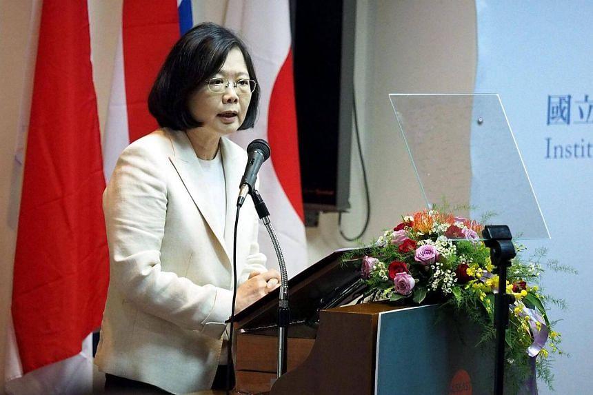 Taiwan's President Tsai Ing-wen speaking at a seminar in Taipei on Sept 22, 2016.