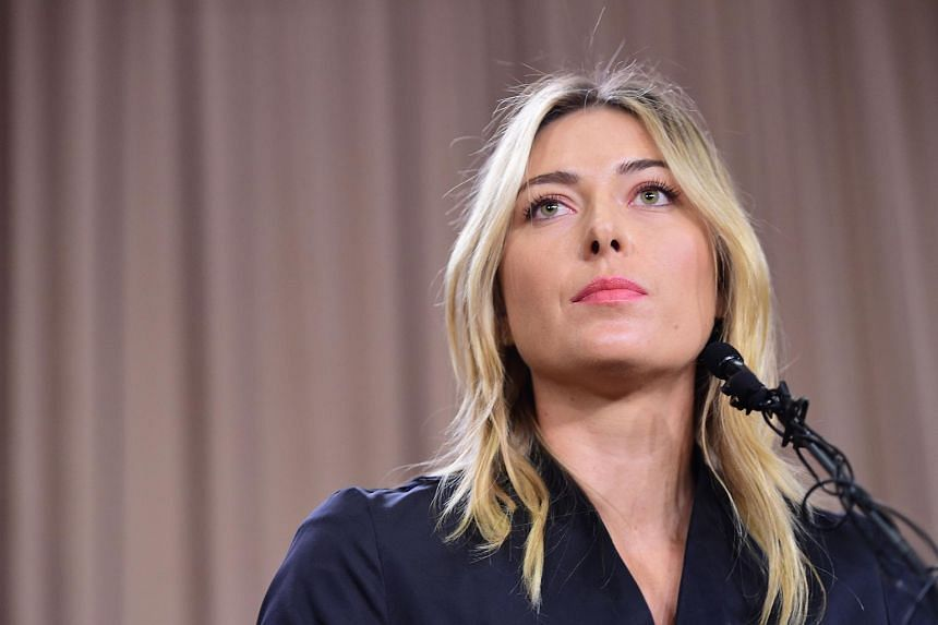 Maria Sharapova speaking at a press event in Los Angeles on March 7, 2016.