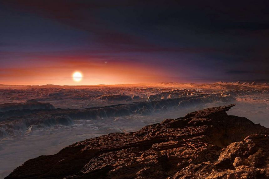 An artist's impression of the surface of the planet Proxima b, which orbits the red dwarf star Proxima Centauri, the closest star to the Solar System.