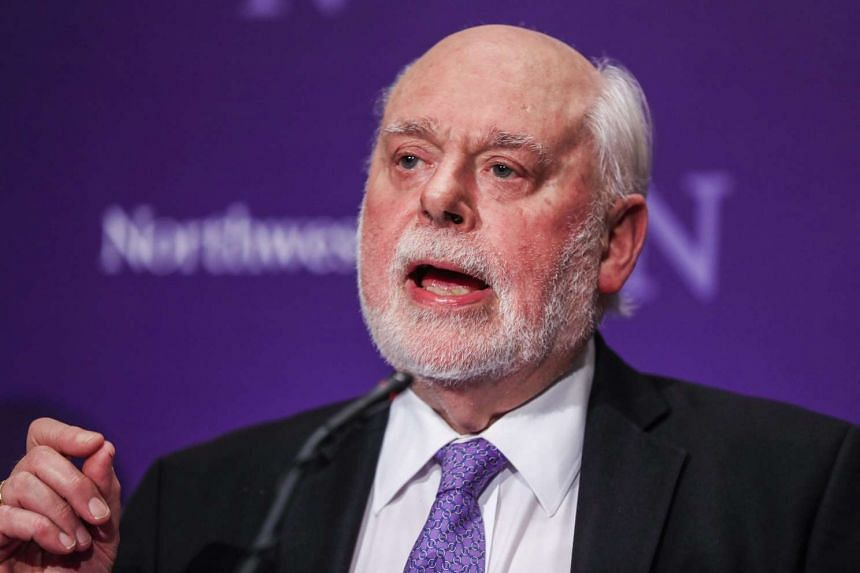 Sir Fraser Stoddart, Board of Trustees Professor of Chemistry in the Weinberg College of Arts and Sciences at Northwestern University, speaks to guests as he is honored for his Nobel win at a reception on the campus in Evanston, Illinois, USA, on Oct