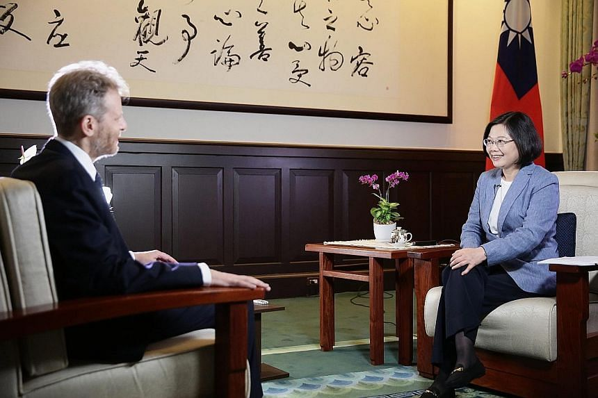 """Ms Tsai being interviewed by The Wall Street Journal in Taipei. She avoided reference to the """"1992 consensus"""", a tacit agreement between China and Taiwan that there is one China."""