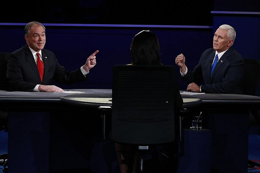 On Tuesday night, Democrat Tim Kaine (left) and Republican Mike Pence often interrupted each other, spoke over one another and embarked on unrelated tangents - forcing the moderator to urge them to let the other speak and also to remind them of the q