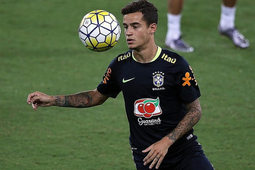 Philippe Coutinho during Brazil's training session in Natal, ahead of their qualifier against Bolivia tonight.