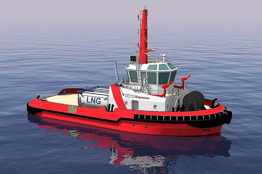 Keppel Offshore & Marine has secured contracts to build its first two dual-fuel diesel LNG harbour tugs using its proprietary design (left). The tugs are expected to be completed in 2018.